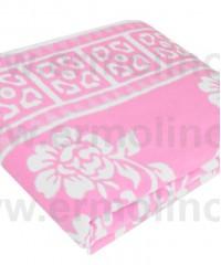 Розовое Байковое одеяло жаккард 215х150 100% х/б