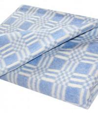 Голубое Байковое 205х140 арт. 5772В 75% х/б +25% вискоза клетка Ермолино одеяло