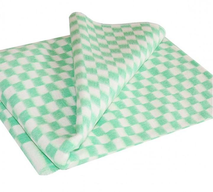 Зеленое Байковое 205х140 арт. 5772В 75% х/б +25% вискоза клетка Ермолино одеяло Альвитек Одеяла