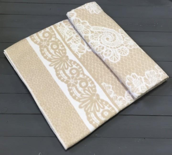 Бежевое байковое одеяло 215х150 100% х/б