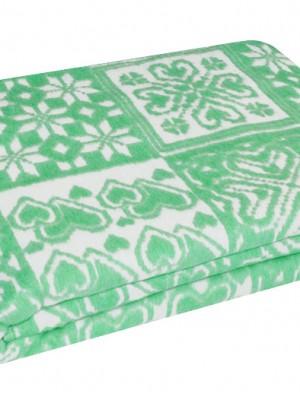 Зеленое Байковое жаккард 215х150 арт. 5772ВЖ 75%+25%вискоза х/б Ермолино одеяло