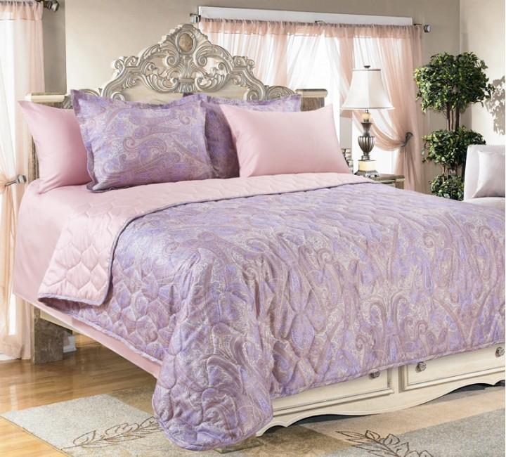 Покрывало стёганое сатин Кашмир (фиолетовый) 240х210  ТексДизайн Покрывала и Пледы