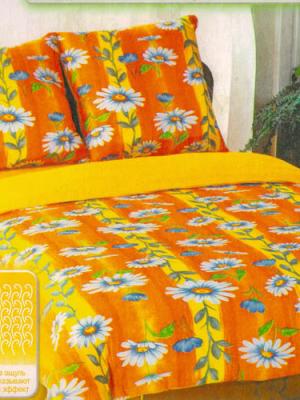 Комплект махрового постельного белья Оранжевая ромашка, 2х спальный