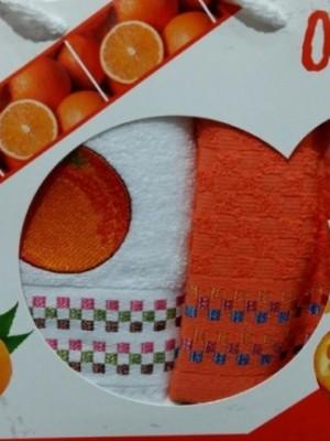 Апельсин Фрукты М ( 40х60 ) х 2шт арт.029 в коробке набор кухонный Атлас Текстиль