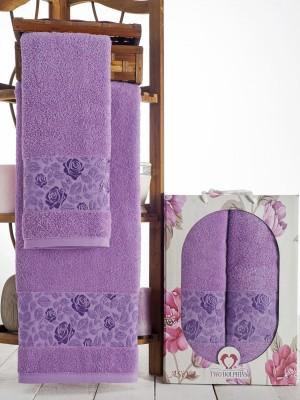9014 Лиловый ASIYA ( 50х90+70х140) в коробке Набор полотенец TWO DOLPHINS