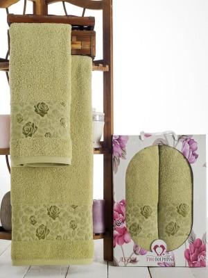 9014 Зеленый ASIYA ( 50х90+70х140) в коробке Набор полотенец TWO DOLPHINS
