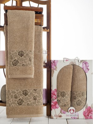 9014 Молочный ASIYA ( 50х90+70х140) в коробке Набор полотенец TWO DOLPHINS