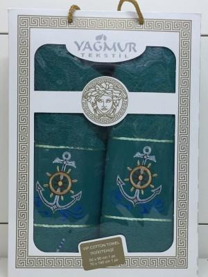 Изумруд Якорь М ( 50х90+70х140) в коробке Набор полотенец Атлас Текстиль