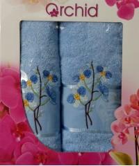 Голубой Орхидея М ( 50х90+70х140) в коробке Атлас Текстиль