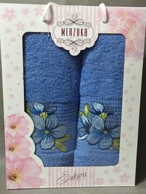 8430 Голубой SAKURA (50х90+70х140 ) в коробке Набор полотенец MERZUKA