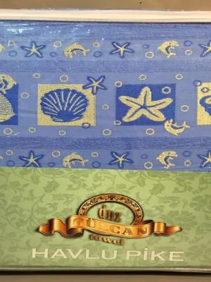 Ракушки Голубой 160х220 ( 1шт ) Простыня Велюр-Махра 450гр Атлас