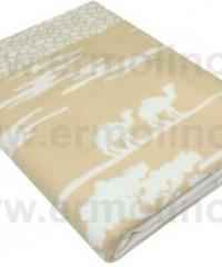 Бежевое Сафари Байковое жаккард 215х150 100% х/б арт.5772ВЖК одеяло Ермолино