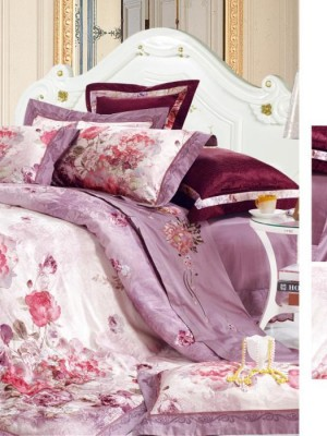110-69 комплект постельного белья Сатин с вышивкой с отделкой габеленом Valtery Евро