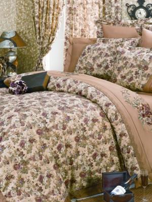 110-31 комплект постельного белья Сатин с вышивкой с отделкой габеленом Valtery Евро