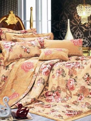 110-60 комплект постельного белья Сатин с вышивкой с отделкой габеленом Valtery Евро