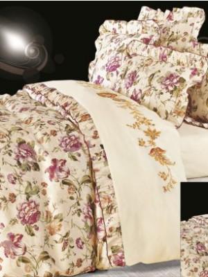 110-38 комплект постельного белья Сатин с вышивкой с отделкой габеленом Valtery Евро