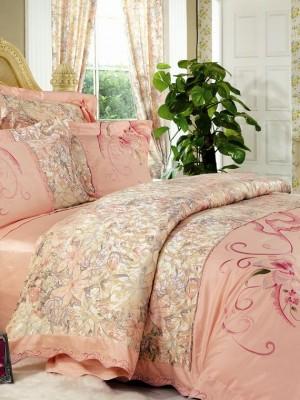110-15 комплект постельного белья Сатин с вышивкой с отделкой габеленом Valtery Евро