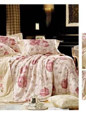 110-68 комплект постельного белья Сатин с вышивкой с отделкой габеленом Valtery Евро