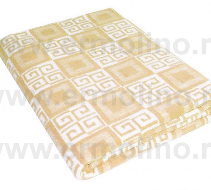 Бежевое Байковое одеяло жаккард 215х150 100% х/б