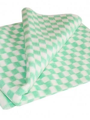 Зеленое Байковое 205х140 арт. 5772В 75% х/б +25% вискоза клетка Ермолино одеяло