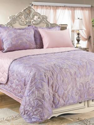 Покрывало стёганое сатин Кашмир (фиолетовый) 180х210